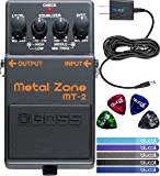 BOSS MT-2 Metal Zone Distortion Guitar Pedal Bundle with Blucoil Slim 9V Power Supply AC Adapter, 4-Pack of Celluloid Guitar Picks and 5-Pack of Reusable Cable Ties