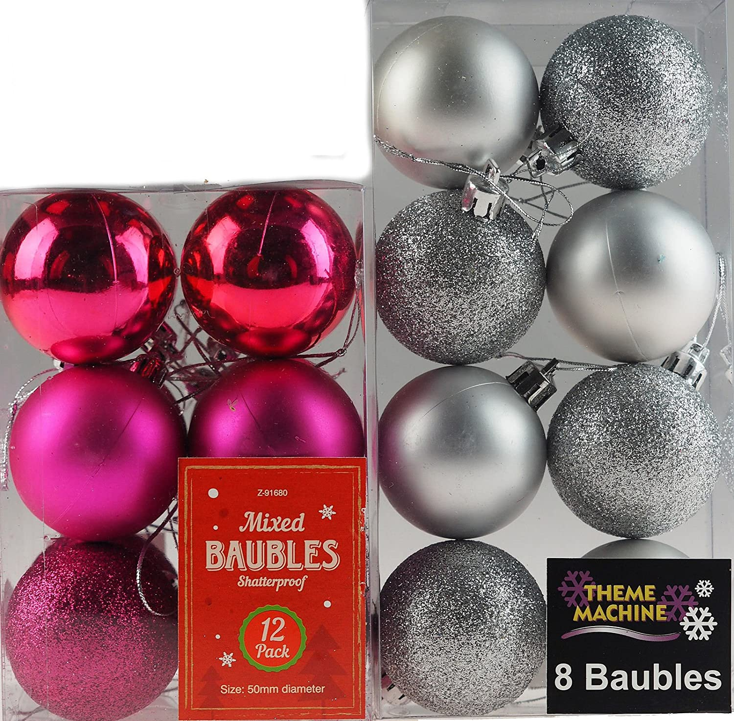 Set Of 20 Hot Pink And Silver Christmas Tree Baubles Decorations