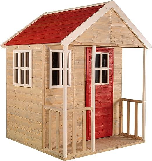 Casita infantil de madera para exteriores | Jardín abierto para niños tipo M Casa de aventura nórdica con Balcón, Ventanas Perspex, Estante De Juguete, Puerta Completa: Amazon.es: Jardín