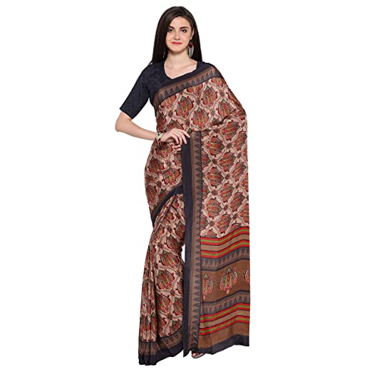Blissta Multicolor printed crepe saree Ethnic Wear
