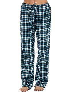 8e013f9448eae3 ADOME Damen Schlafanzughose Kariert gedruckt Hose Lang Pyjamahose  Schlafhose Pants Sleep Baumwolle
