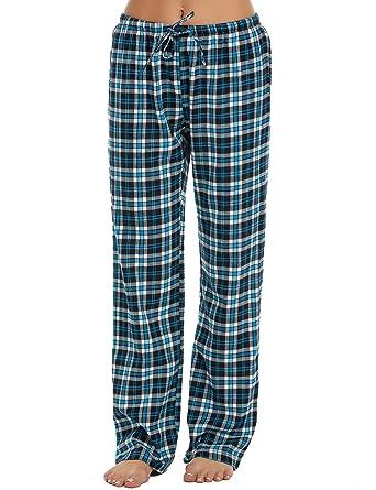 92a312e754 ADOME Damen Schlafanzughose Baumwolle Pyjamahose Sleep Hose Lang Blau L