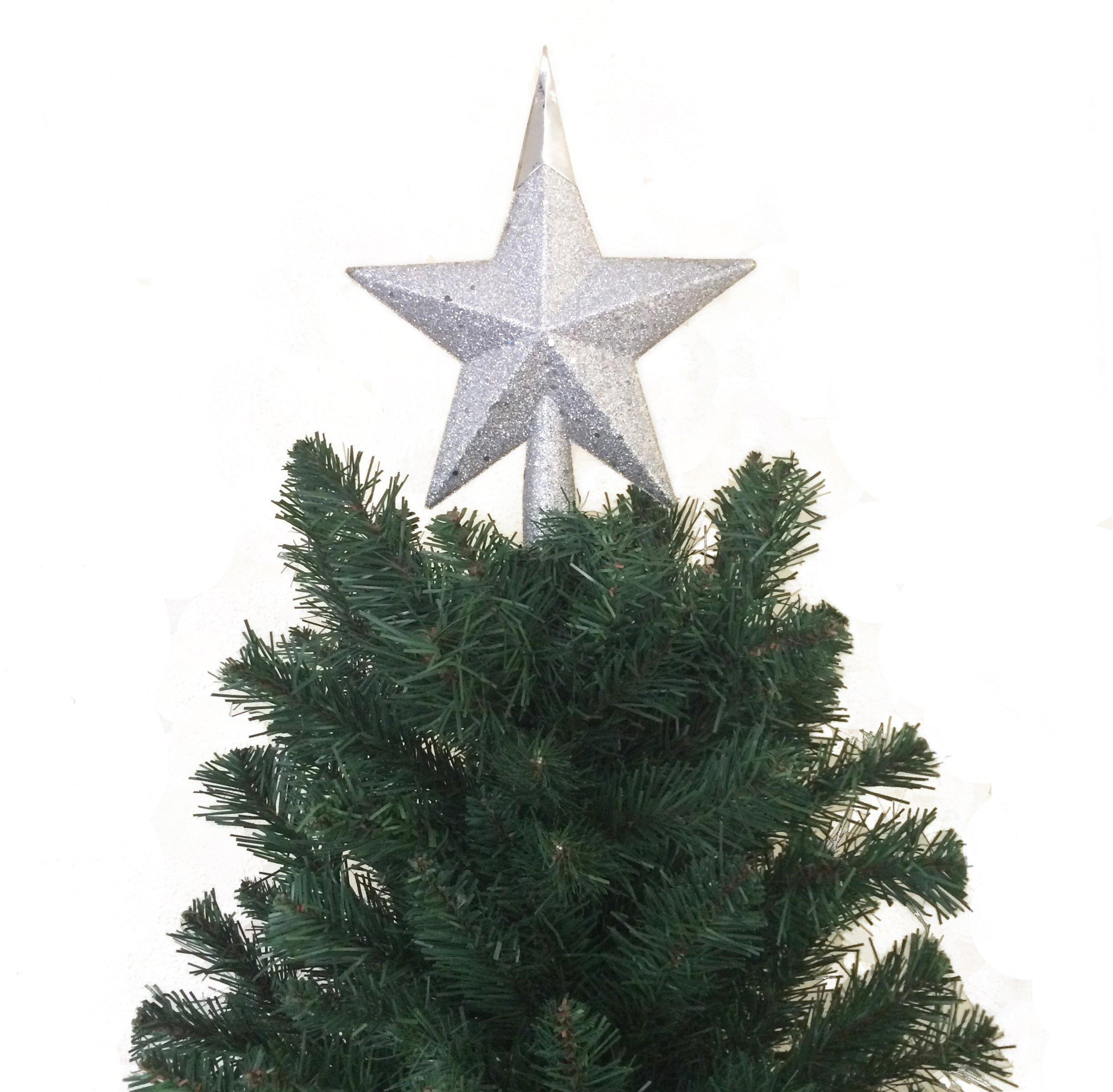 7.8'' H Star Tree Topper With Glitter Christmas Tree Decoration - Silver