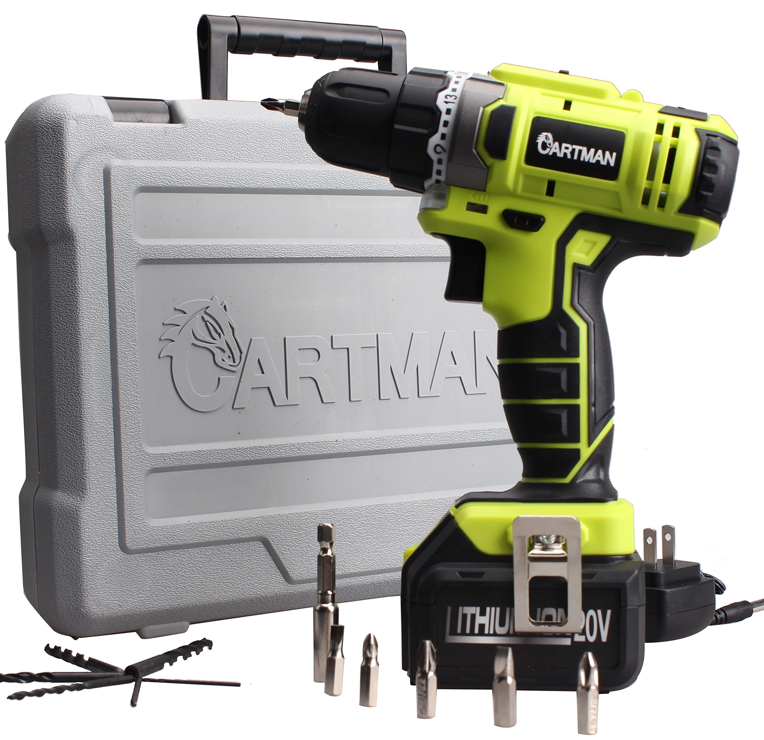 20V Li-ion Cordless Electric Rechargeable Drill Driver Kit Portable Power Tool