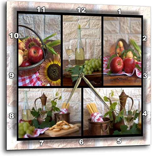 3dRose DPP_28849_3 Wine and Fruit Collage Wall Clock, 15 by 15-Inch