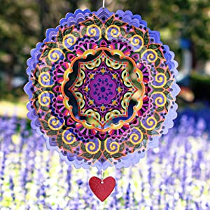 SteadyDoggie Wind Spinner Mandala Purplerain 12 inches – 3D Stainless Steel – Laser Cut Metal Art Geometric Pattern - Hanging Wind Spinner, Kinetic Yard Art Decorations - Indoor/Outdoor Decor