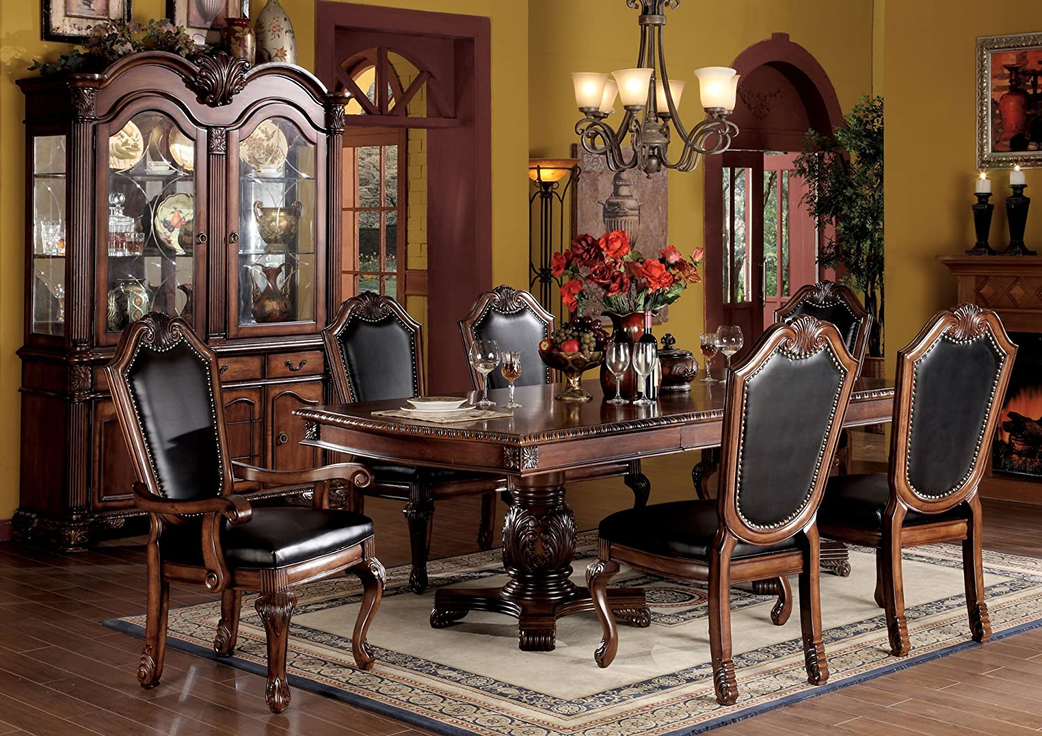 Amazon.com   ACME 04075B SET Chateau De Ville 7 Piece Formal Dining Set,  Table/4 Chairs/2 Arm Chairs, Cherry Oak Finish   Table U0026 Chair Sets