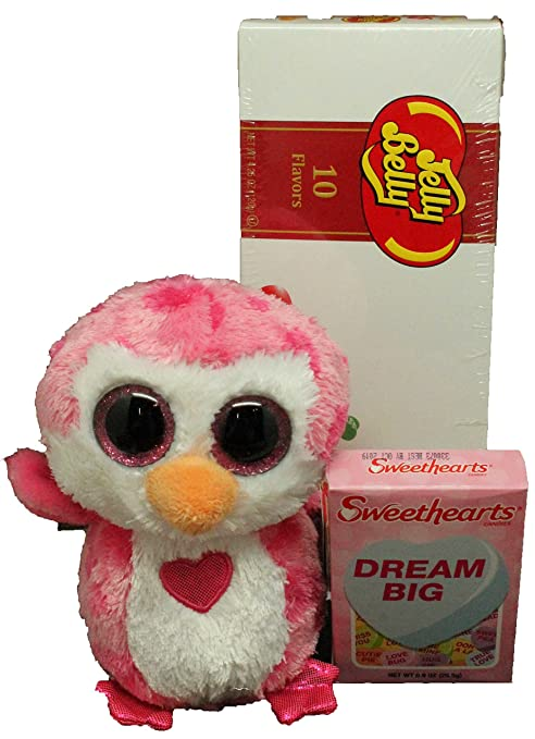 128bc3daa87 Amazon.com  TY Juliet Beanie Boo Owl Plush Valentines Day Gift Bag Set 3 PC  with Jelly Belly Gift Box and Conversation Hearts  Toys   Games