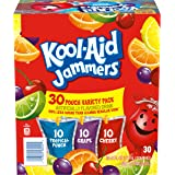 Kool-Aid Jammers Tropical Punch, Grape, & Cherry Flavored Juice Drink Variety Pack (30 Pouches)