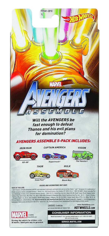 Vision Captain America Thor E Hulk Giocattoli da Corsa per Bambini Veicoli Die Cast Assortiti con Iron Man Hot Wheels Set di 5 Auto da Corsa Giocattolo Marvel Avengers