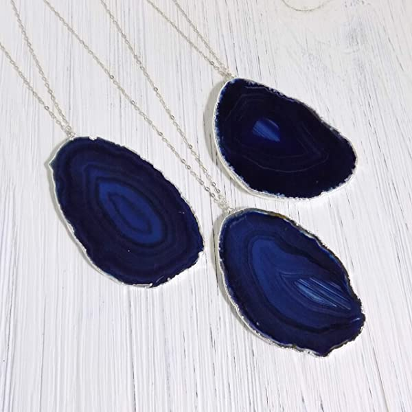 Large Blue polished agate pendant with chain