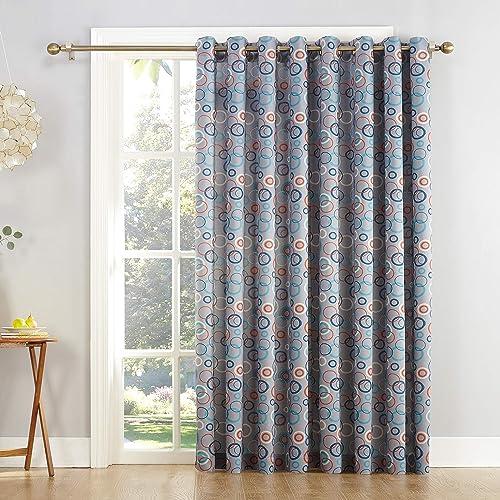 Sun Zero Celestia Extra-Wide Sliding Patio Door Curtain Panel, 100 x 84 , Gray