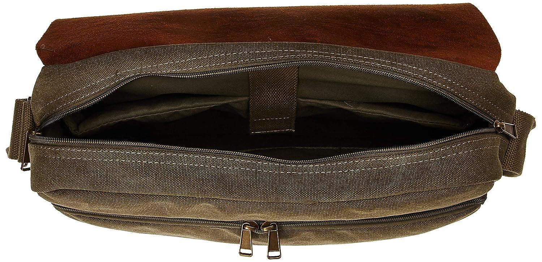 One Size Olive Florsheim Canvas and Leather Flap Messenger Bag Shoulder