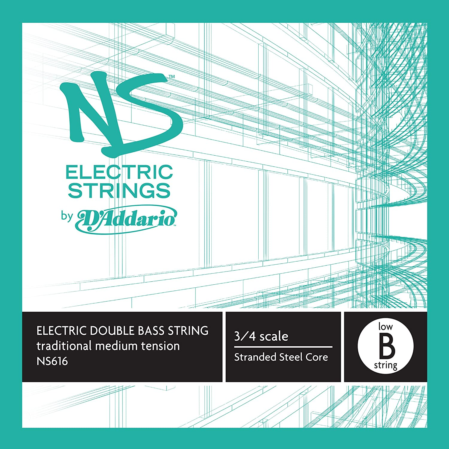 D'Addario NS Electric Traditional Bass Single Low B String, 3/4 Scale, Medium Tension D' Addario NS616