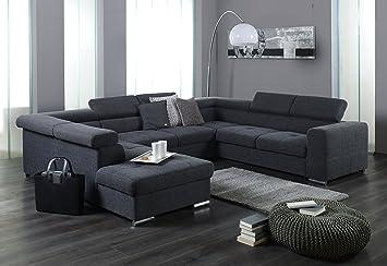 Xxl Wohnlandschaft Couch Cary U Form Strukturstoff Grau Mit