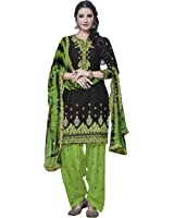 KVS FAB Blue & Green Cotton Embroiderd Patiala Un-stitched Dress Material