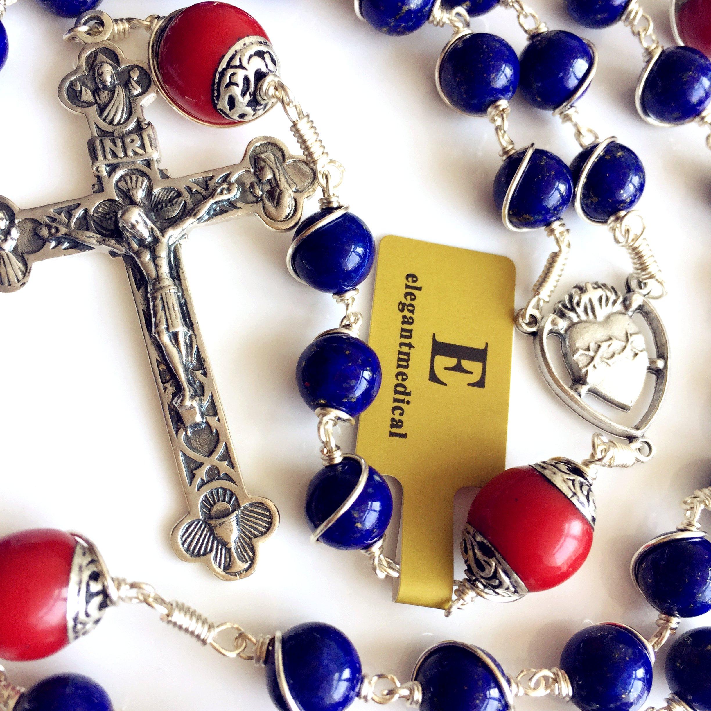 Handmade Sterling 925 Silver Lapis Lazuli Beads Rosary Cross Crucifix Catholic Necklace Gifts by elegantmedical (Image #7)