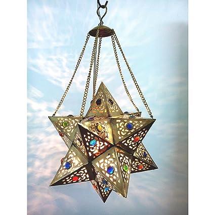 Amazon br354 handmade brass egyptian moroccan jeweled star br354 handmade brass egyptian moroccan jeweled star pendant hanging lamp aloadofball Choice Image