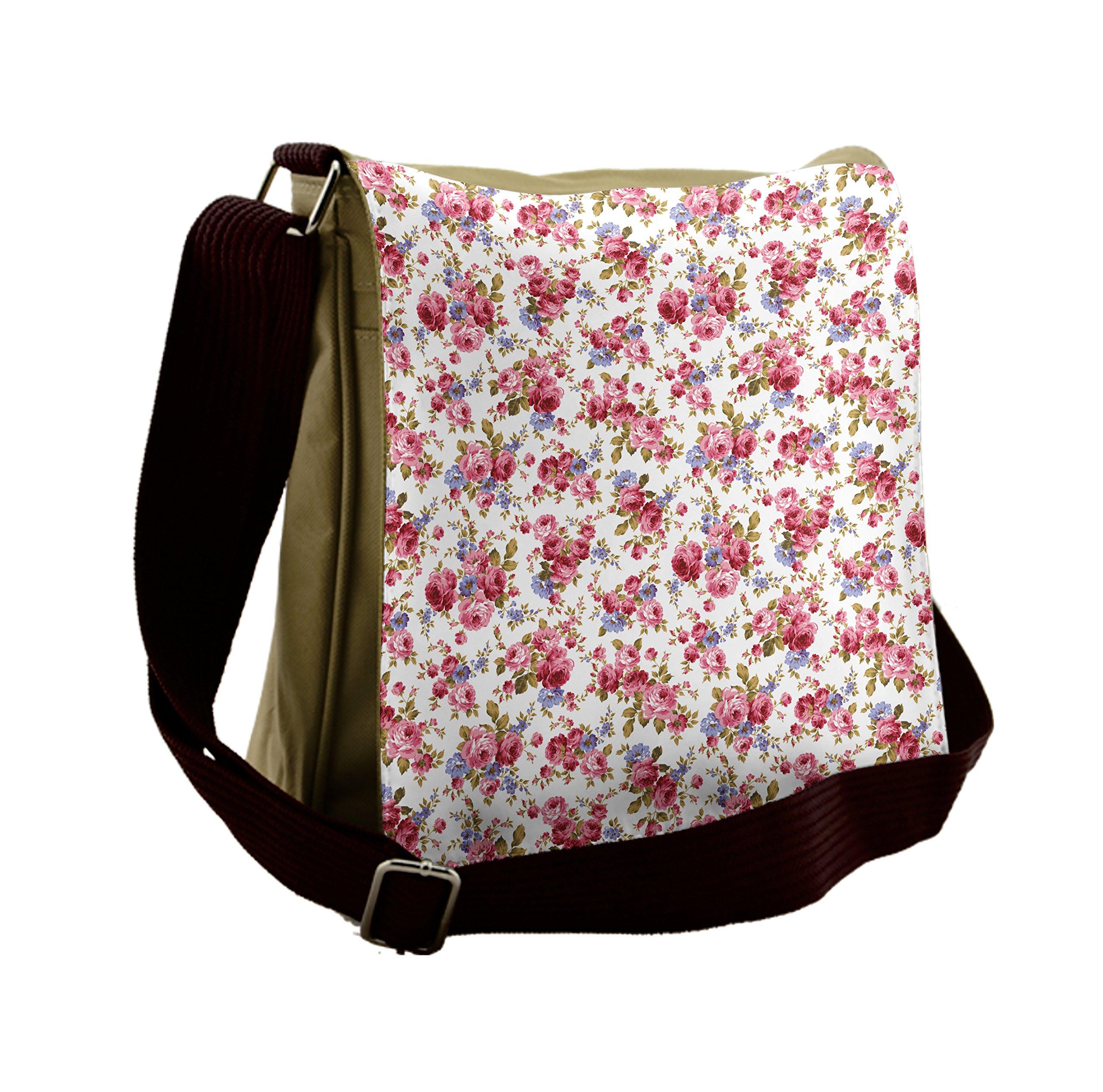 Lunarable Flower Messenger Bag, Shabby Rose Wedding Theme, Unisex Cross-body