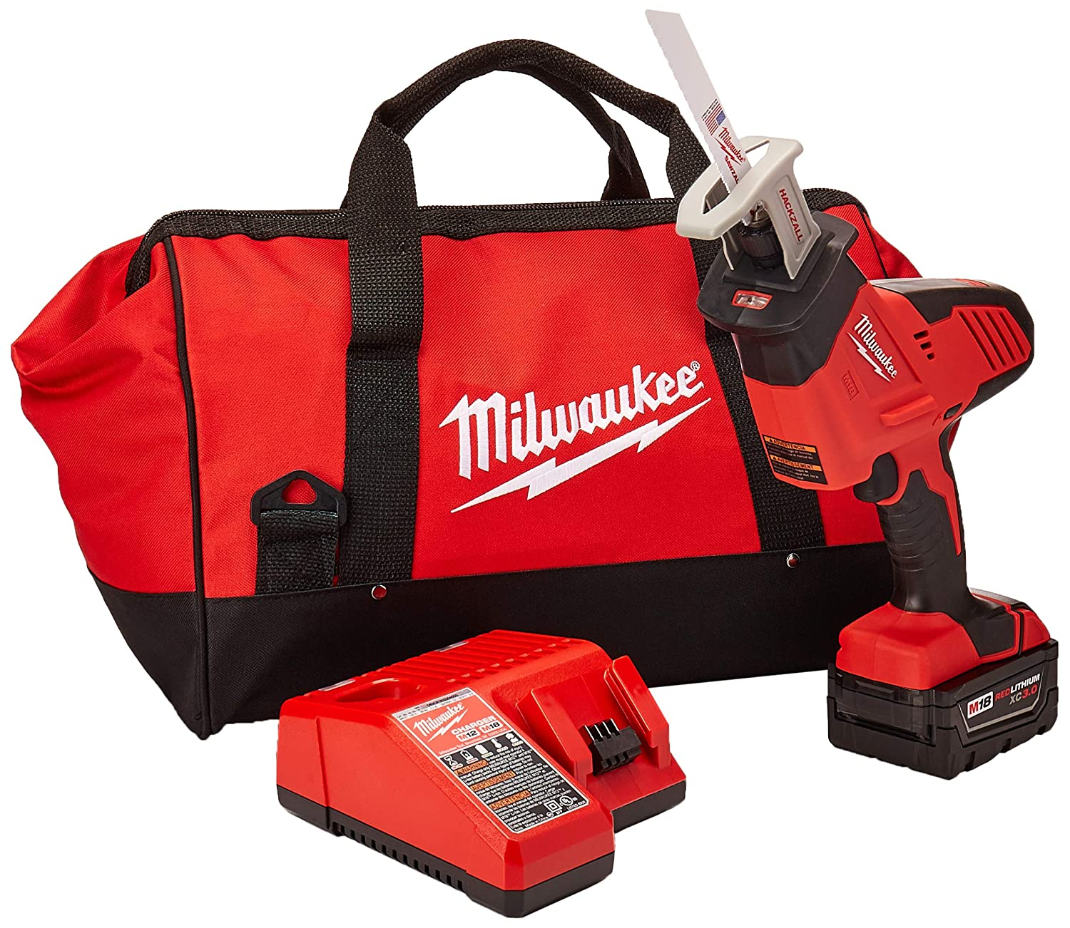 Milwaukee 2625-21 M18 18V Hackzall Cordless One-Handed Reciprocating Saw Kit
