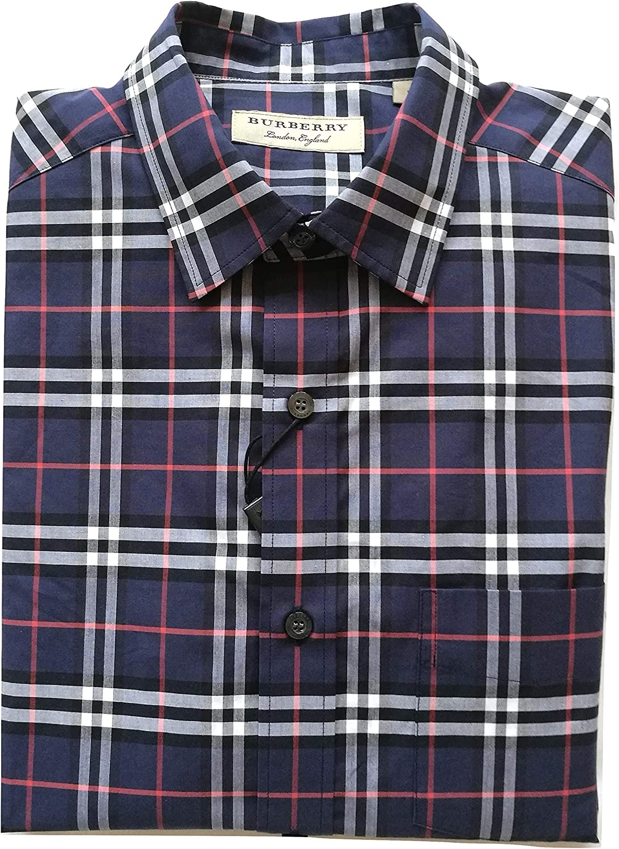 Burberry - Camisa de manga larga de algodón para hombre Alexander 80031051 azul marino Check Navy S: Amazon.es: Ropa y accesorios