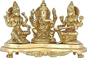 Brass Statue of Ganesha Lakshmi Saraswati Hindu Religious Gifts for Women Men