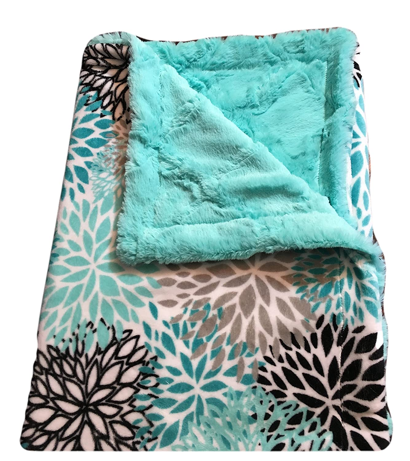 3d8482b9bc Amazon.com  Personalized Baby Blanket- Minky Baby Blanket- Teal Blanket