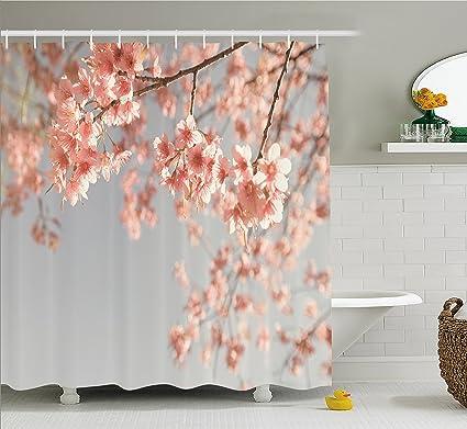 Ambesonne Peach Shower Curtain Japanese Scenery Sakura Tree Cherry Blossom Nature Photography Coming Of Spring