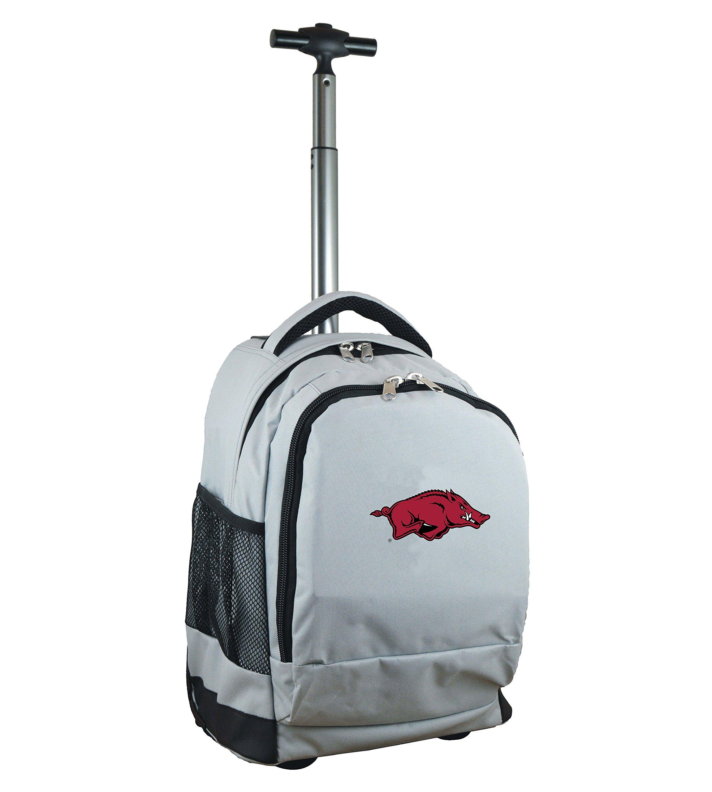 Denco NCAA Arkansas Razorbacks Expedition Wheeled Backpack, 19-inches, Grey