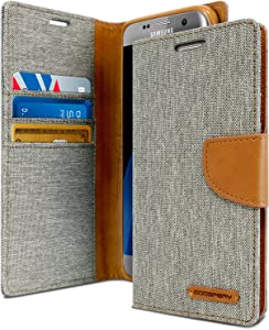 Goospery Canvas Wallet for Samsung Galaxy S7 Edge Case (2016) Denim Stand Flip Cover (Gray) S7E-CAN-Gry
