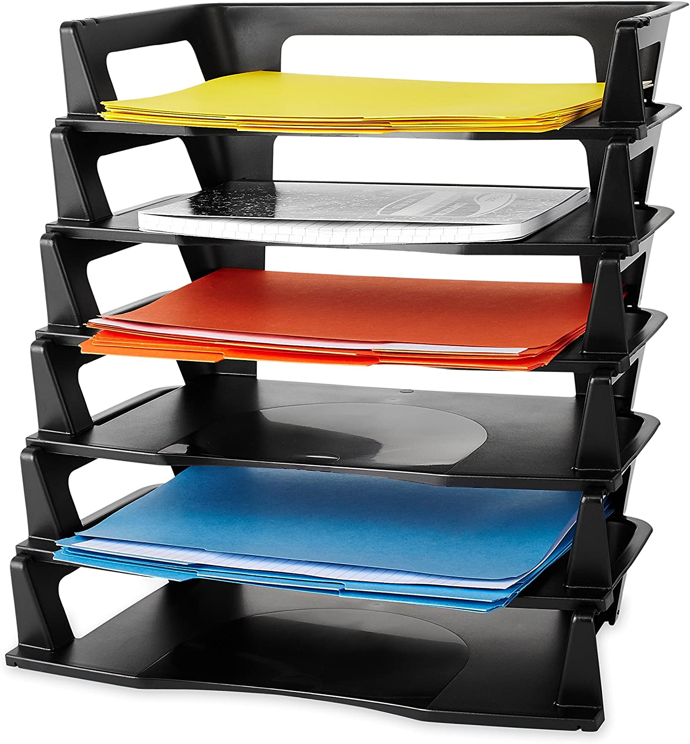 Regeneration Letter Tray, Six Tier, Plastic, Black (86028)