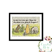 As Soon As I Saw You I Knew An Adventure Was Going To Happen Winnie The Pooh Tigger Piglet Eeyore Childrens A. A. Milne Nursery Farmhouse Literary Typography Vintage Book Page 5x7 Unframed Print