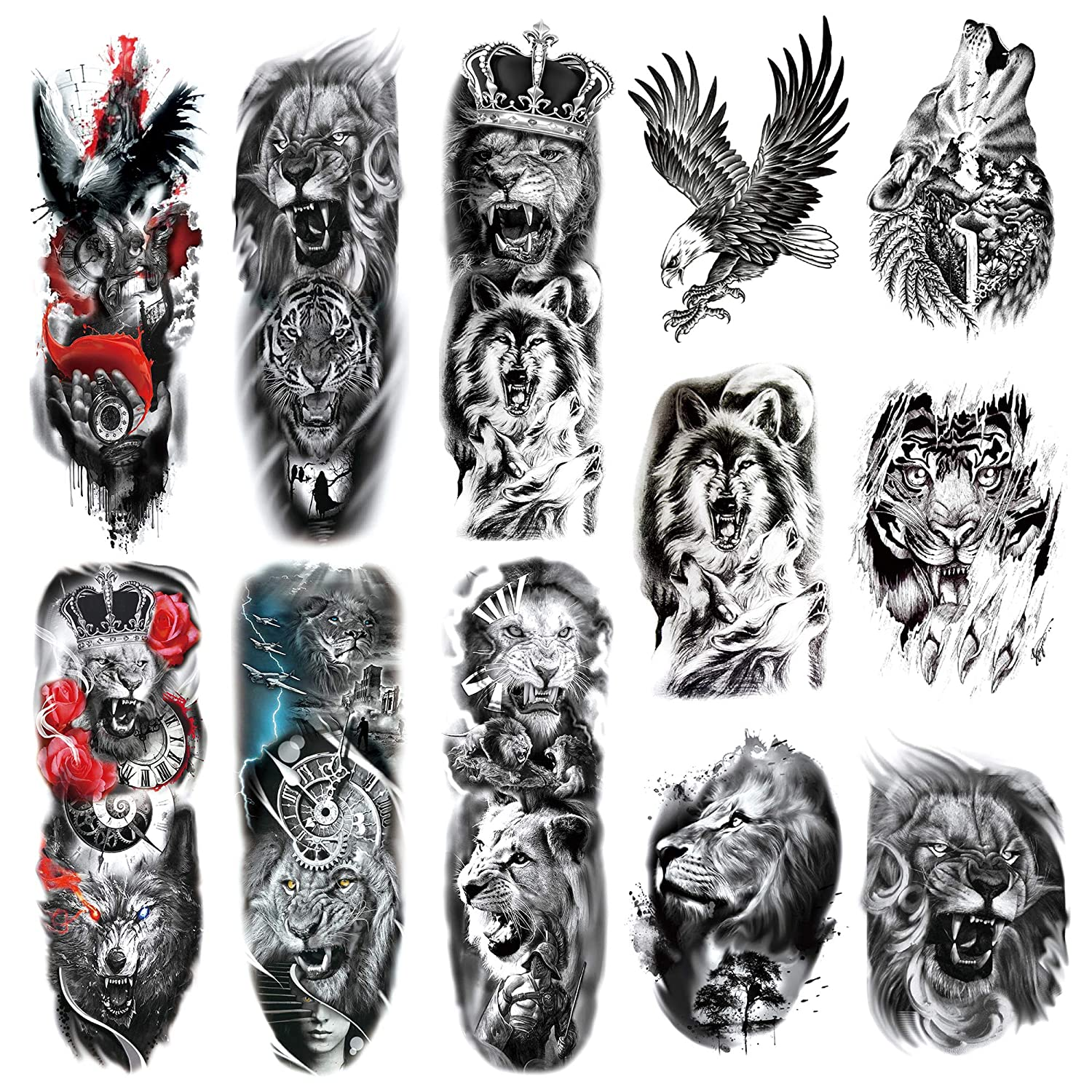 Leoars Full Sleeve Temporary Tattoos Animal Theme Fake Tiger Lion Arm Tattoos Stickers And Extra Large Tattoo Sleeves For Men And Women 12 Sheet Amazon In Beauty This captivating tattoo features the head of a lion linked to three feathers down the upper arm. fake tiger lion arm tattoos stickers