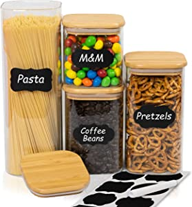 PantryBox Square Glass Food Storage Containers with Bamboo Lids, 4 PC Set - Labels & Marker - Airtight Clear Kitchen & Pantry Organization Canisters for Pasta, Cereal, Flour, and Snacks - BPA-Free