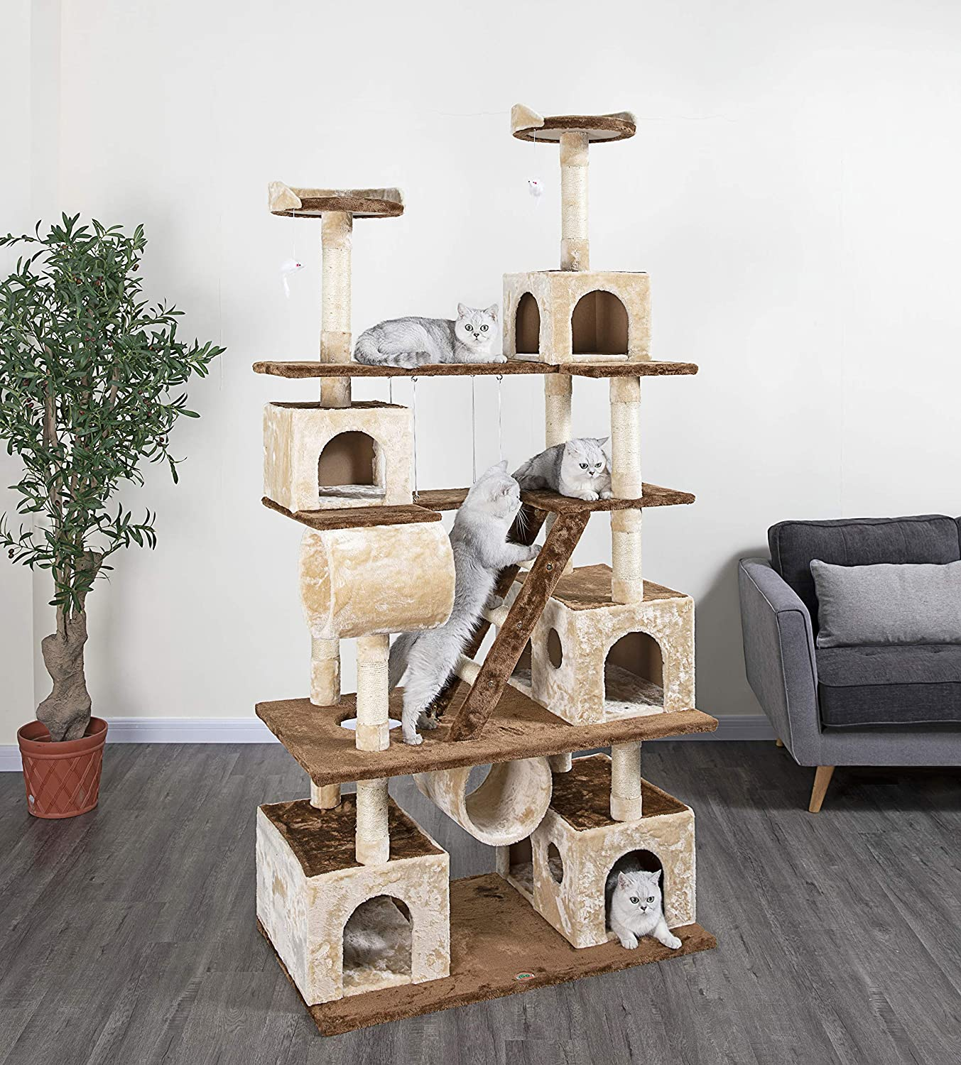 Go Pet Club Huge 87 Tall Cat Tree House Climber Furniture With Swing Pet Supplies