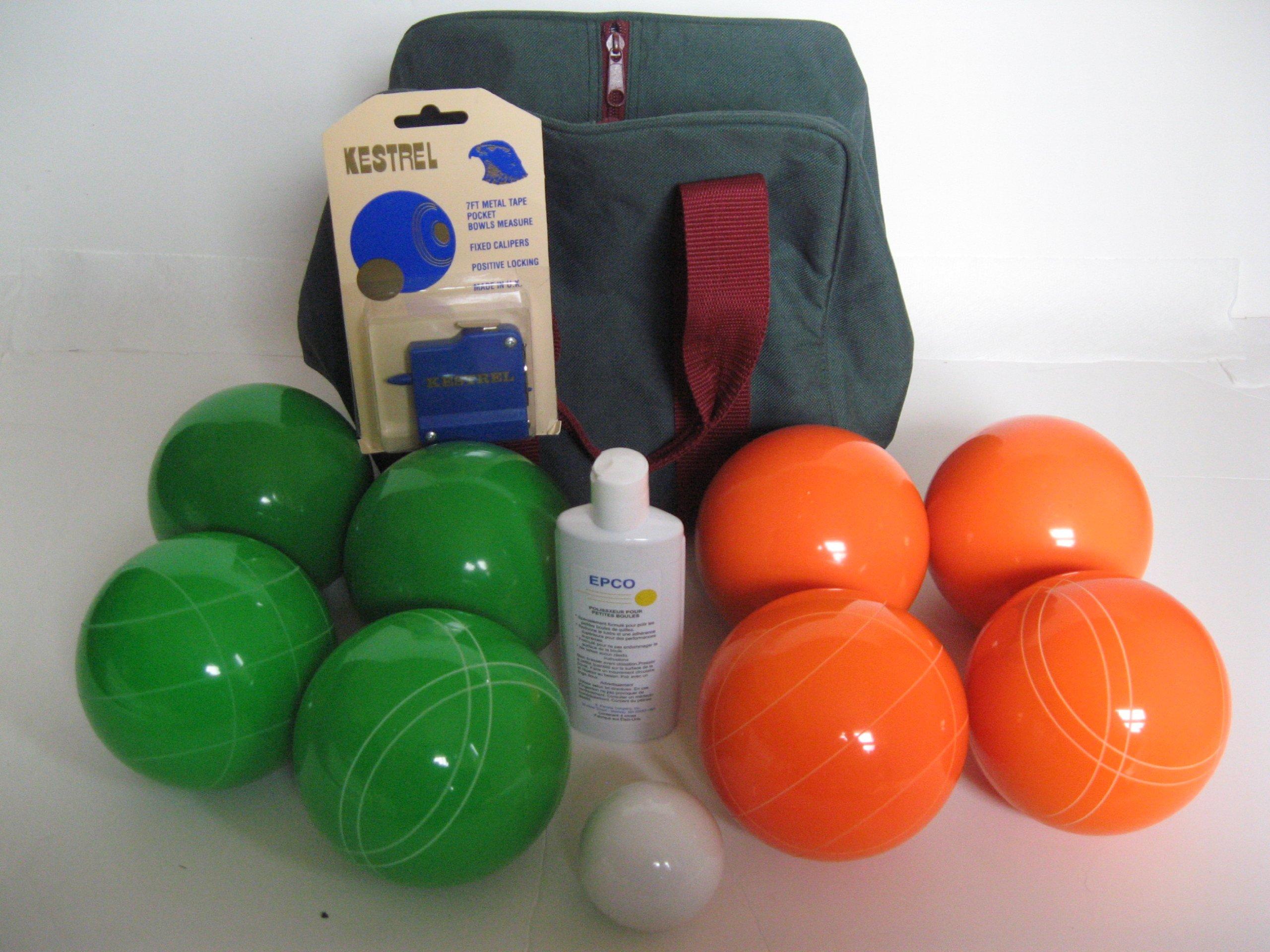 Premium Quality Basic EPCO Bocce package - 110mm Green and Orange balls, quality nylon bag, m...