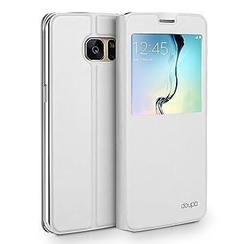 doupi Deluxe Ventana FlipCover para Samsung S7 Edge, Carcasa Case magnético Funda Caso tirón Estilo Libro Protector de Cuero Artificial, Blanco
