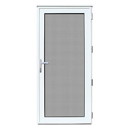 Titan 32x80 Meshtec Ultimate Security Storm Door | Aluminum Full View with  Meshtec Advanced Screen & Glass| Recessed Mount | Right hand | 3pt lock