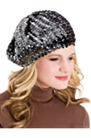 Ladies Sequin Beret Hat GL309 Available in Black, Grey & Peacock Blue