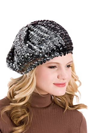 943146d4db1a9 Ladies Dark Grey Sequin Beret Hat GL309  Amazon.co.uk  Clothing