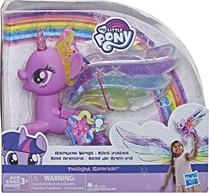 Amazon.com: My Little Pony Toy Rainbow Wings Twilight Sparkle -- Purple Pony  Figure With Lights And Moving Wings, Kids Ages 3 Years Old And Up: Toys &  Games