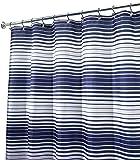 "InterDesign Enzo Stripe Fabric Shower Curtain, 72"" x 72"", Navy/White"