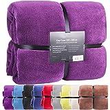 Feluna Couverture couvre-lit plaid en microfibre à toucher cachemire XXL 220x 200cm Violett