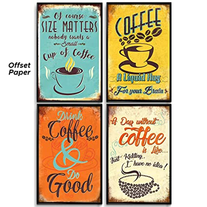 Kitchen Wall Decor Set Of 4 Prints 11x17in Coffee Bar
