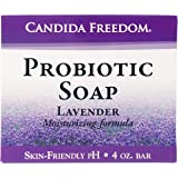 Candida Freedom 100% Natural Probiotic Soap-Anti fungal Soap for Skin Fungus, Jock Itch, Acne, Dandruff and Poison Ivy-Powerful Lavender Antibacterial Body Soap-4oz Lavender Scent