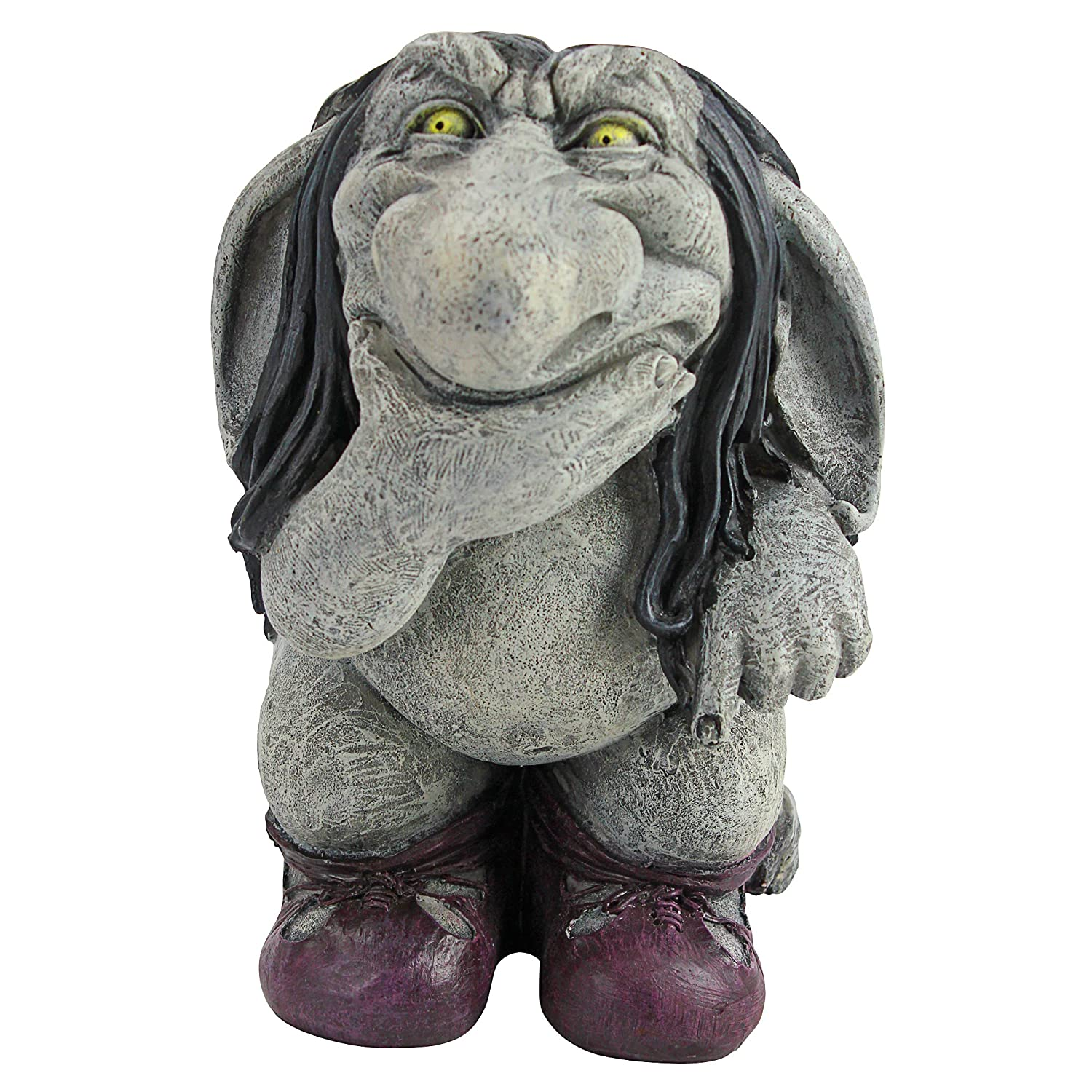 Design Toscano Garden Gnome Statue -Pondering Sylvester the Cynical Gnome Troll - Lawn Gnome