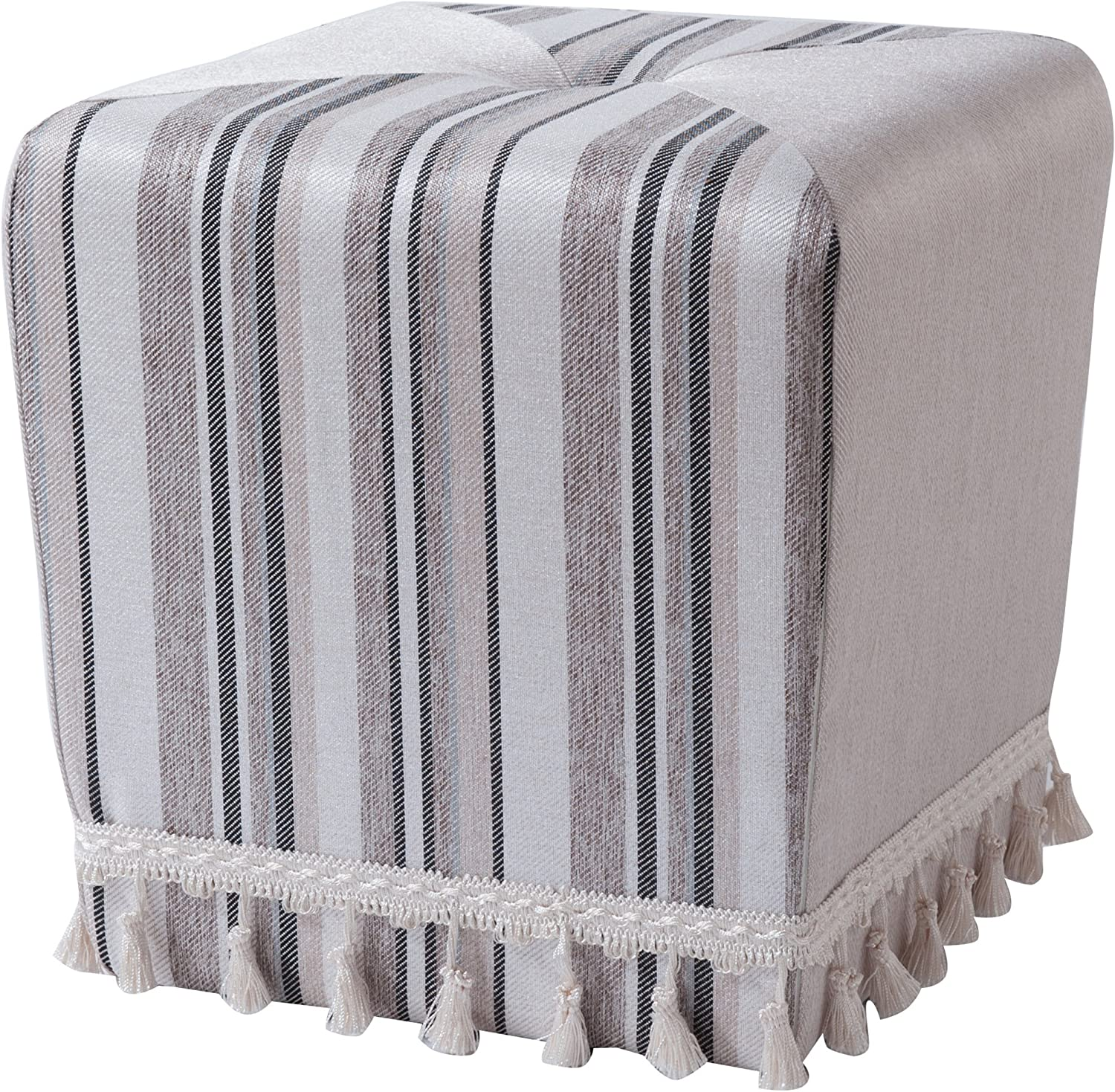 Jennifer Taylor Home Colleen Fringe Square Accent Ottoman, Grey