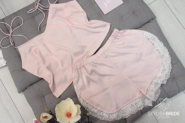 Amazon.com  High waist shorts french pajamas lace silk set ef162d529