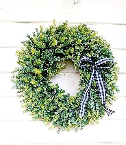 Amazon Com Farmhouse Wreath Eucalyptus Wreath Fall Wreath Winter