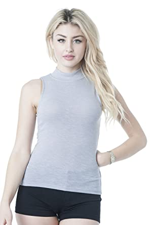 129cc76fa37791 Sleeveless Ribbed Mock Neck Top at Amazon Women s Clothing store